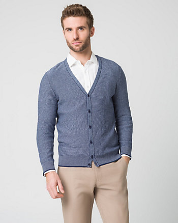 Tonal Cotton Button-Front Cardigan