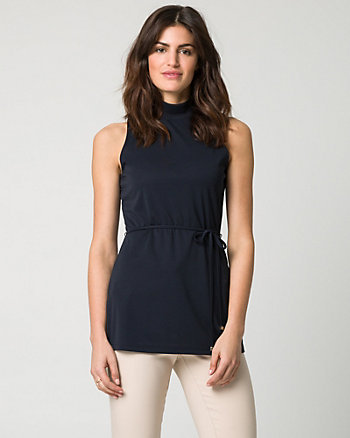 Jersey Mock Neck Belted Top
