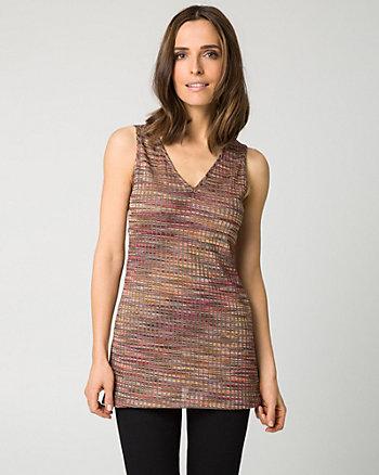 Rib Knit V-Neck Tunic Top