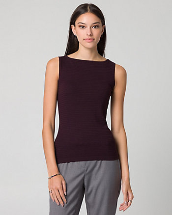 Textured Knit Boat Neck Sweater Tank
