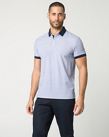 Novelty Print Cotton Blend Polo Shirt