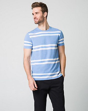 Stripe Cotton Blend Crew Neck T-Shirt