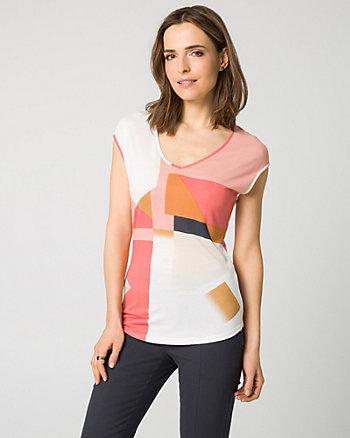 Patchwork Print Jersey V-Neck T-Shirt