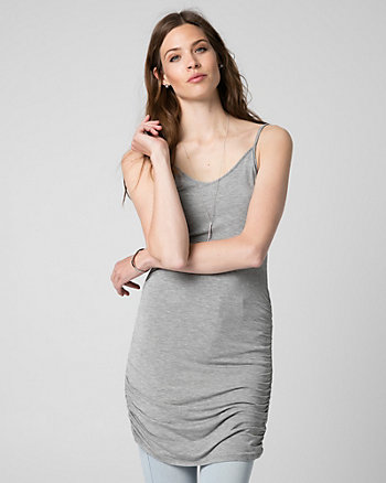 Cut & Sew Knit V-Neck Ruched Tunic