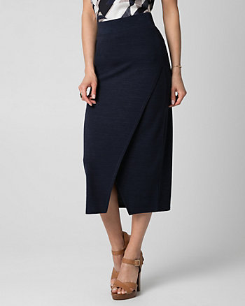 Cut & Sew Knit Asymmetrical Midi Skirt