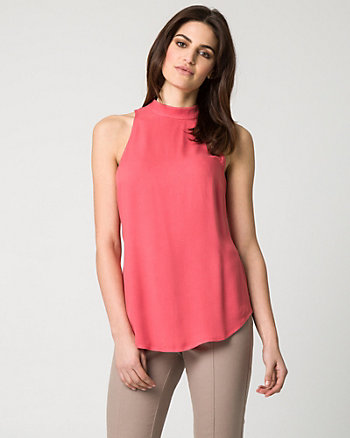 Challis Mock Neck Blouse