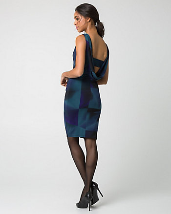 Geo Print Knit Boat Neck Cocktail Dress