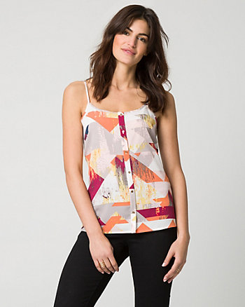 Abstract Print Crêpe de Chine Camisole