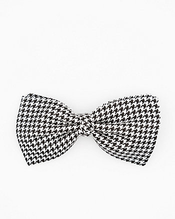 Italian-Made Houndstooth Print Silk Bow Tie