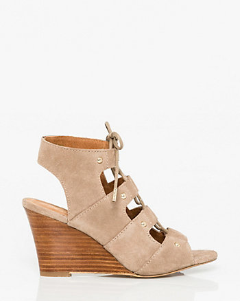 Suede Ghillie Tie Wedge Shootie