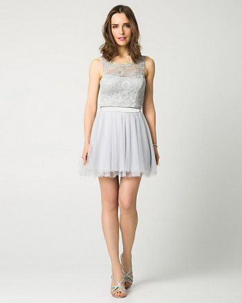 Lace & Mesh Two-Piece Party Dress