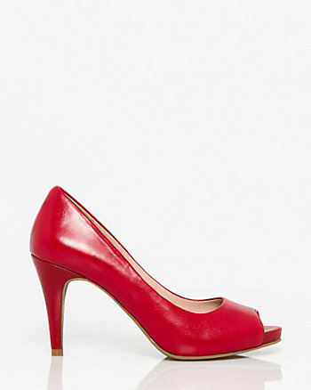 Leather Peep Toe Platform Pump