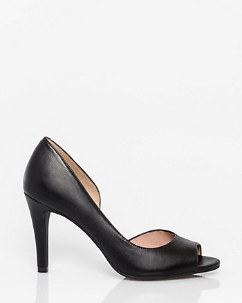 Leather Peep Toe Half d'Orsay Pump