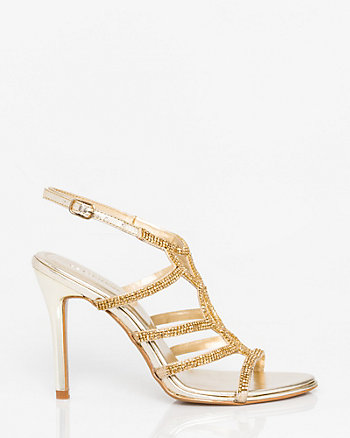 Metallic Leather-Like Strappy Sandal