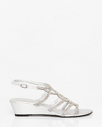 Metallic Leather-Like Gladiator Wedge