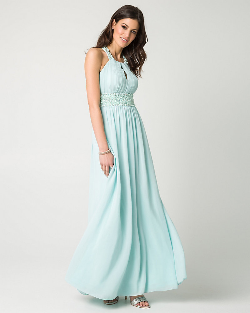 Jewel Embellished Chiffon Halter Gown   LE CHÂTEAU