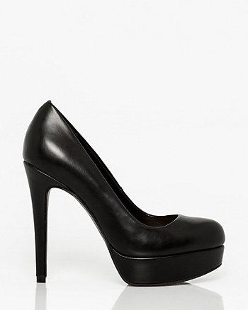 Leather-Like Almond Toe Platform Pump