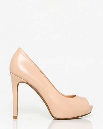 Leather-Like Peep Toe Platform Pump