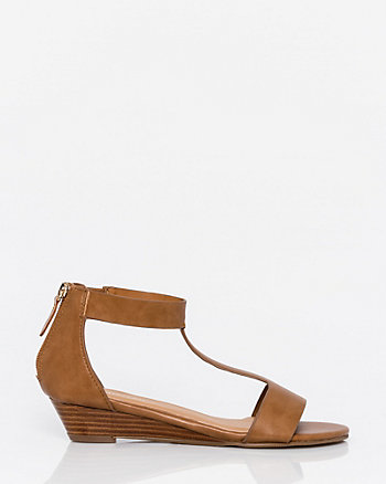 Leather-Like T-Strap Wedge Sandal