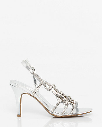Embellished Metallic Faux Leather Slingback