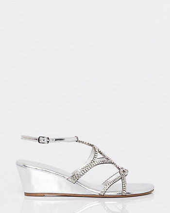 Jewel & Metallic Faux Leather Wedge