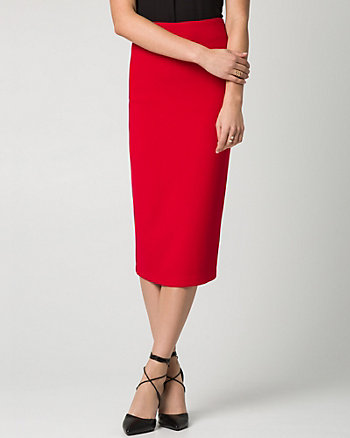 Stretch Piqué Midi Skirt