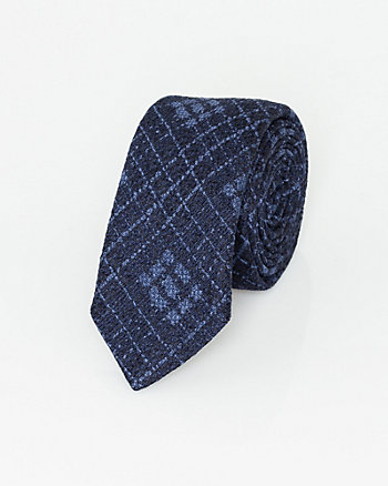 Italian-Made Check Print Silk Tie