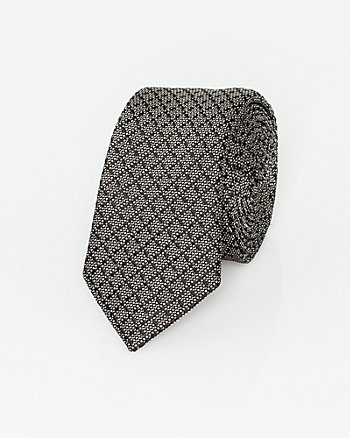 Italian-Made Silk Grid Print Tie