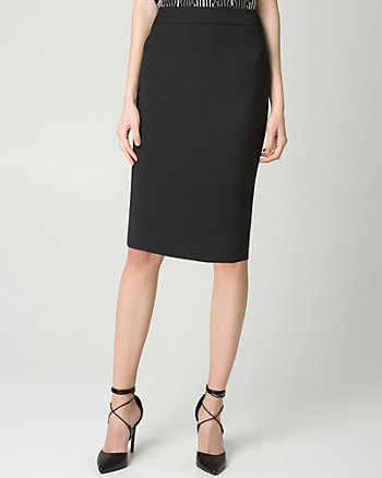 Stretch Viscose Blend Pencil Skirt
