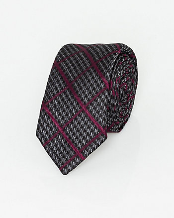 Italian-Made Houndstooth Print Silk Tie