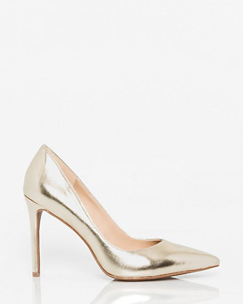 Metallic Faux Leather Pointy Toe Pump