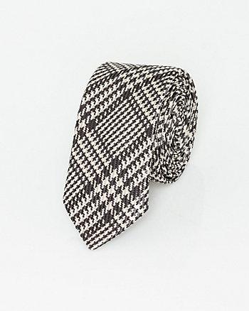 Italian-Made Check Print Silk Tie