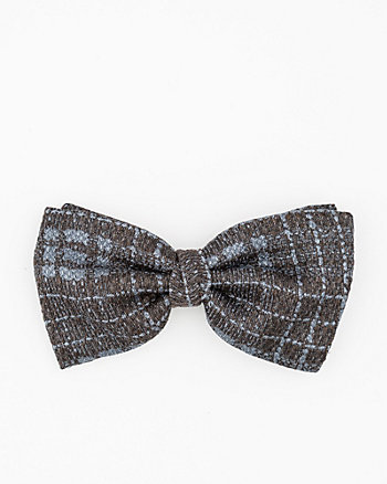 Italian-Made Check Print Silk Bow Tie