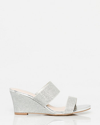 Glitter Mesh Wedge Slide Sandal