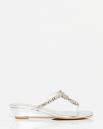Metallic Leather-Like Wedge Sandal