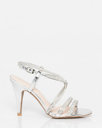 Jewel & Leather-Like Strappy Sandal