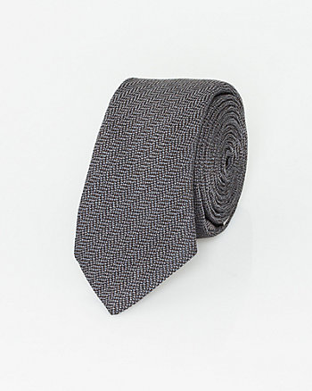 Italian-Made Herringbone Print Silk Tie