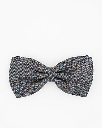 Italian-Made Herringbone Print Silk Bow Tie