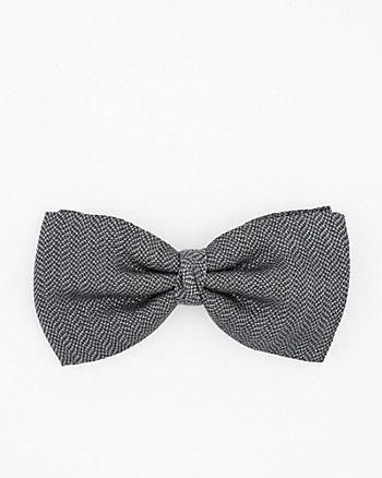Italian-Made Herringbone Print Silk Bow Tie