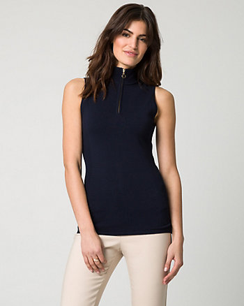 Viscose Blend Front-Zip Mock Neck Top