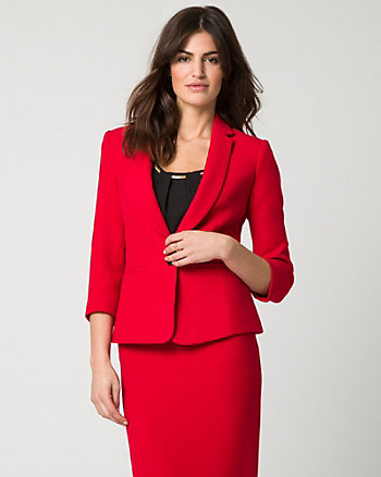 Stretch Piqué Notch Collar Blazer