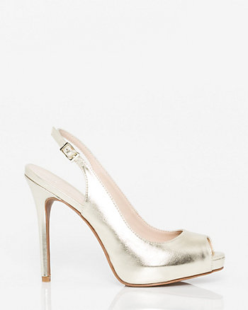 Metallic Faux Leather Peep Toe Slingback