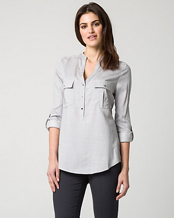 Crosshatch Challis Mandarin Collar Blouse