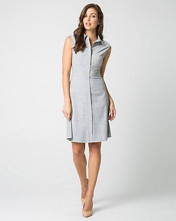 Crosshatch Viscose Blend Shirtdress