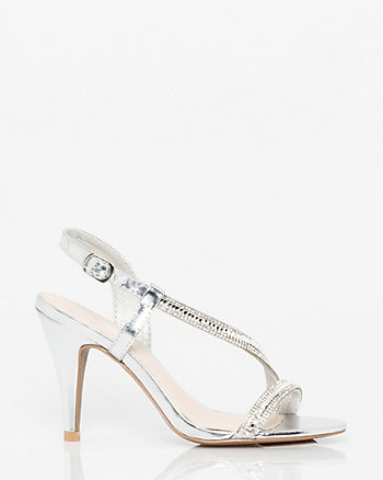 Metallic Leather-Like Asymmetrical Sandal