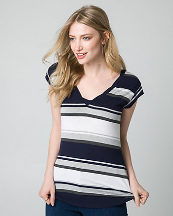 Stripe Jersey V-Neck Top