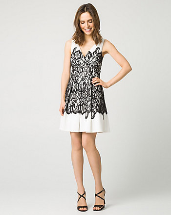 Lace & Scuba V-Neck Cocktail Dress