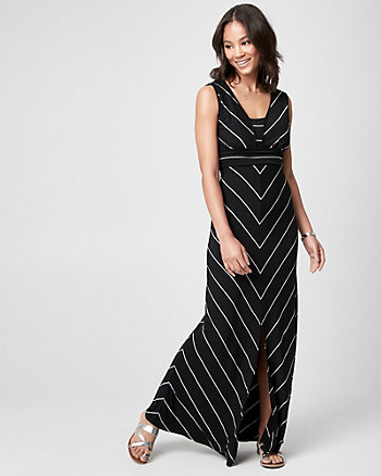 Stripe Jersey V-Neck Maxi Dress