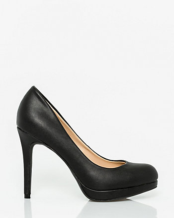 Faux Leather Almond Toe Platform Pump