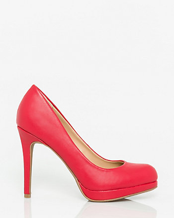 Leather-Like Almond Toe Platform Pump